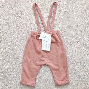 Zara baby plush pants with suspenders